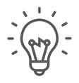 light bulb line icon e learning and education vector image vector image