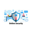 man holding padlock online security concept vector image vector image