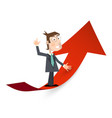 man in suit on red arrow success and business vector image vector image