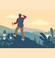 man on top mountain vector image