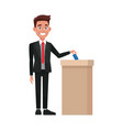 man voting at ballot box democracy concept vector image vector image