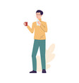 man with cold or flu holding cup and tissue flat vector image vector image