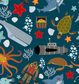 Marine seamless pattern Inhabitants of the ocean vector image vector image