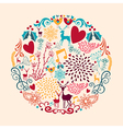 Merry Christmas circle shape full of love vector image vector image