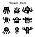 monster icon set vector image