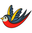 old school tattoo a swallow vector image vector image
