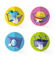 on line shopping set icons vector image
