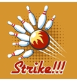 Pop art bowling strike poster vector image vector image