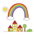 rainbow over houses drawing vector image vector image