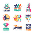 run sport club logo templates set emblems vector image vector image
