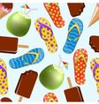 seamless background with ice cream coconut and sl vector image vector image