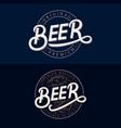 set beer hand written lettering logos vector image vector image