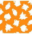 set of halloween ghosts on orange background vector image vector image