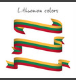 set of three ribbons with the lithuanian tricolor vector image vector image