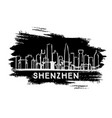 shenzhen china city skyline silhouette hand drawn vector image vector image
