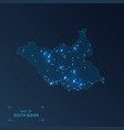 south sudan map with cities luminous dots - neon vector image vector image