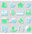 spa and relaxation simple color stickers set eps10 vector image vector image
