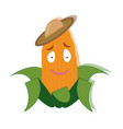 sweet kind corn in a hat vector image