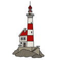 the old red and white lighthouse vector image vector image