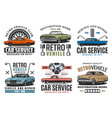 turning car service retro vehicles restoration vector image vector image