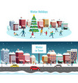 winter city horizontal banners vector image
