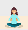 yoga woman meditating and doing yoga vector image vector image