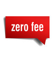 zero fee red 3d speech bubble vector image vector image