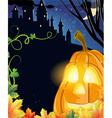 Jack O Lantern near the haunted castle vector image