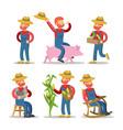 happy farmer cartoon with basket of vegetables vector image