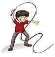 Angry man holding a rope vector image vector image