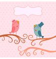 Beautiful birds in love of cartoon birds on branch vector image vector image