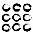 black circle textured ink strokes set isolated on vector image vector image