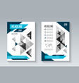blue business brochure flyer in geometric style vector image vector image