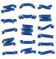 blue ribbon set isolated white background vector image