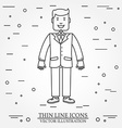 Businessman thin line icon For web design and vector image