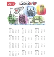 Calendar 2016London Landmarks skylinewatercolor vector image vector image