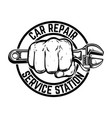 car repair service station hand with adjustable vector image
