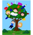 Cartoon children playing in an apple vector image vector image