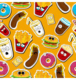 Cartoon fast food cute character seamless faces