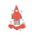 cartoon rocket icon in comic style startup launch vector image vector image