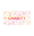 charity red creative horizontal line banner vector image vector image