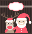 christmas card with cute deer and santa claus vector image vector image