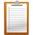 Clip board with notepad vector image vector image