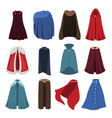 cloaks party clothing and capes costume set vector image vector image