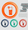 cocktail icon on the red blue green orange vector image