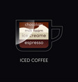 coffee cup with iced isolated on black vector image
