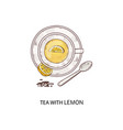 cup herbal tea with a slice lemon icon vector image vector image