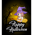 Cute young witch and pumpkin vector image vector image