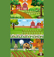 different farm scenes with old farmer and animal vector image