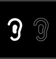 ear icon set white color flat style simple image vector image